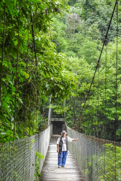 Chris on a swinging bridge