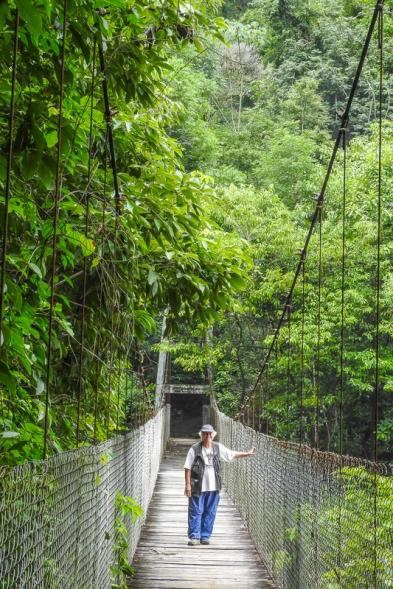 Chris on a swinging bridge