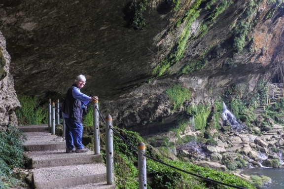 Chris behind the waterfall