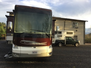 Our rig compared to a bus-sized RV.