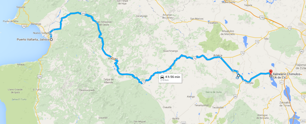 Our route from PV to the Parque Aquatico