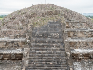 A partially excavated pyramid.