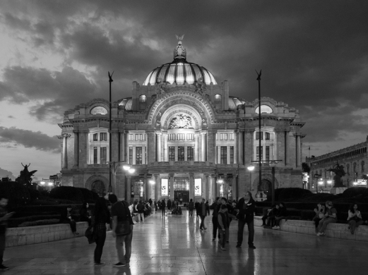 Palacio de la Bellas Artes. I converted the image to black & white because the lighting cast a green hue on the building.