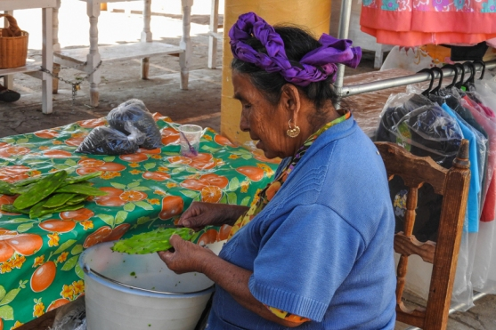 Cleaning nopal (cactus) in the mercado