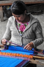 Demonstration of a backstrap loom