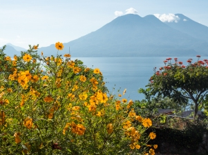 Volcan Tolimán (L), and Volcan Atitlan