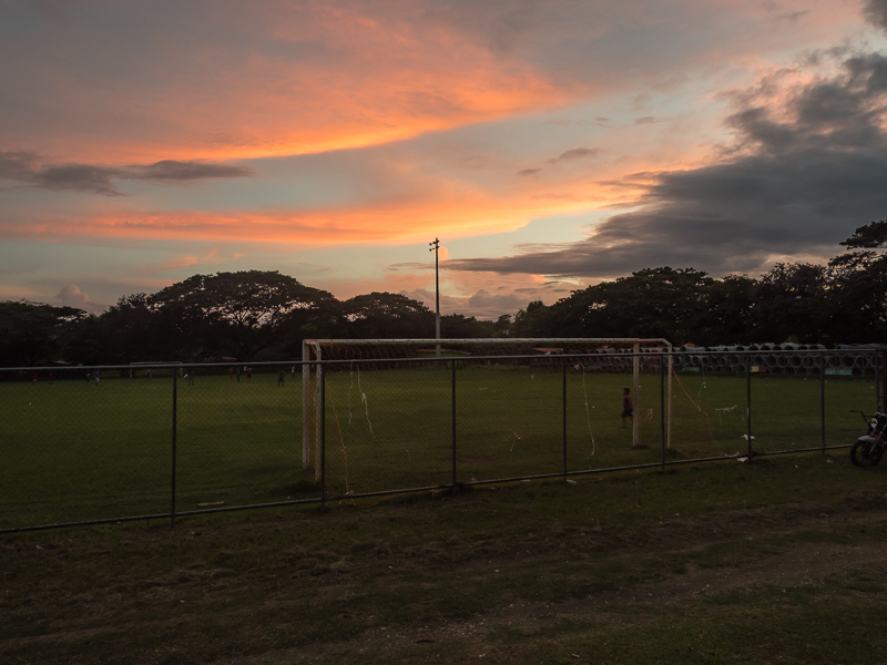 Sunset over the futbol pitch