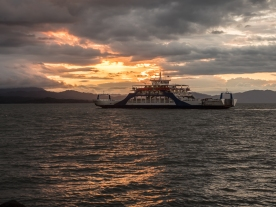 The Tambor II sails into the sunset on the Gulf of Nicoya.