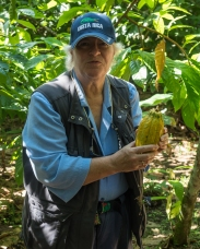 Chris with a cacao pod
