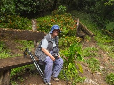 Chris Taking a Break on the 3 Waterfalls Trail.