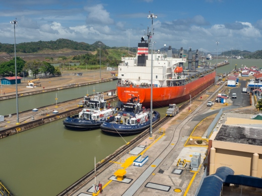 Panama City - Ship in the Miraflores Lock